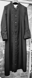 """Cassock: Priests black, half lined, back pleat, pocket, 40"""" chest -pre-owned"""