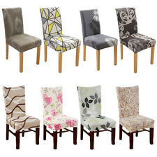 2/4/6/8pcs Spandex Stretch Dining Chair Seat Printed Covers Wedding Party Decor