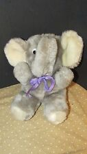 York distribution plush elephant Gray vintage white feet purple bow Korea seated