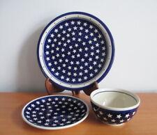 Boleslawiec Dinner Plate Salad Plate Cereal Bowl Momo Panache Blue Stars Poland