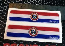 "Paraguay Flag Proud Domed Decal Car Emblem Flexible 3D 4""x1"" Set of 2 Stickers"