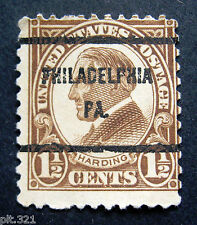 Sc # 633 ~ 1 1/2 cent Warren G. Harding Issue, Philadelphia PA.Precancel