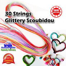 30pc Glittery Strings Scoubidou Scoobie Scooby Fashion PVC Knit Craft Colour Art