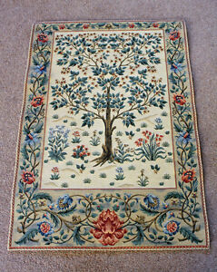 William Morris Tree of Life Inspired Tapestry 68 cm x 48 cm Woven in Flanders