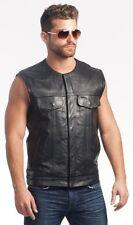Mens XL Concealed Carry Black Leather Biker Vest, Gun Pockets