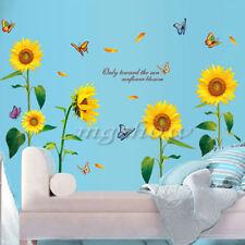 Sunflower Butterfly Flying Wall Sticker Mural Art Vinyl DIY Home Decor Decal A1