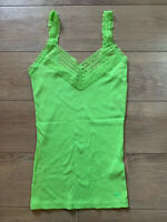 NEW Abercrombie & Fitch Lime Green Lace Strap Tank Top Moose Logo Stretch Sz S