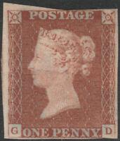 1841 SG8 1d RED BROWN PLATE 26 UNUSED GUM JUST 4 MARGINS CAT £600 (GD)