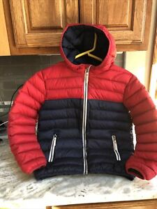 Hanna Andersson Red & Blue Hooded  Down Feather Puffer Jacket Boys Sz140(12)
