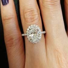 1.55 Ct Halo Oval Brilliant Cut Diamond 14K WG Engagement Ring G,VS2 GIA