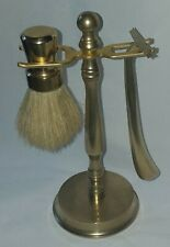 Antique Vintage Brass Razor and Brush Stand