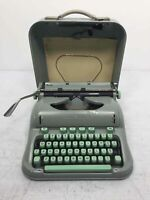 1960's Hermes 3000 Portable Manual Typewriter Grey Sea Foam Green Keys With Case