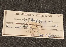 Old 1955 Bill Head Hungry Jack's Wyoming Jackson State Bank Check antique Hole
