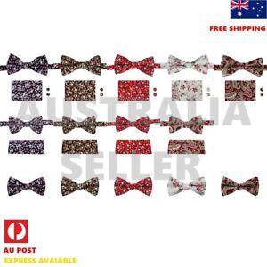 Men's Cotton Floral Bow Tie Men Wedding Bowtie Hanky Cufflinks Dan Smith CCOA-PQ