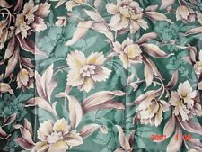 POLISHED COTTON FLORIDA GREEN & BEIGE FLOWERS 60'S NEW OLD STOCK  35x48 EACH