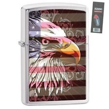 Zippo 28652 eagle and flag full size brushed chrome Lighter + FLINT PACK
