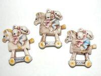 VTG Christmas Ornaments Horse Ceramic Mice on Rocking Horse Lot of 3