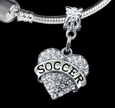 Soccer charm fits european style bracelet & necklace (charm only) Crystal heart