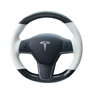 Carbon Fiber&White Leather Steering Wheel Hand Sewing Wrap For Tesla model 3 Y