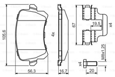 Bremsbelagsatz, Scheibenbremse für Bremsanlage Hinterachse BOSCH 0 986 494 731