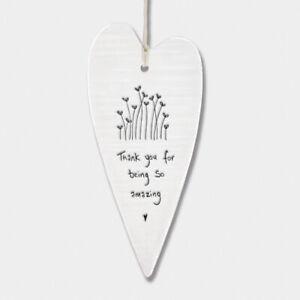 East of India Hanging Long Porcelain Heart Thank you Keepsake Inspirational Gift