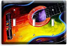 ACOUSTIC GUITAR ABSTRACT MODERN ART MUSIC TRIPLE LIGHT SWITCH WALL PLATE COVER