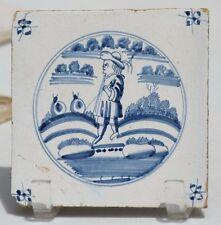 Antique Delft Blue White 17th Century Dutch Holland Tile Figural Landscape