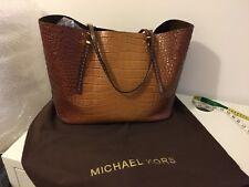Michael Kors Collection Tan Crocodile Leather Shopper Tote Large Shoulder Bag