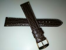 New ZRC Made in France Brown Shark Grain 18mm Watch Band Gold Tone Buckle