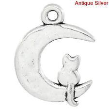 10 ANTIQUE SILVER MOON~CAT CHARM/PENDANT 23x19mm Necklace~Bracelet~Key~ring (7A)