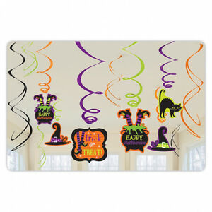 12 x Halloween Cute Witch Hanging Swirl Party Decorations Spooky Family Friendly
