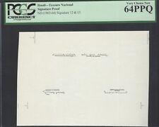 Brazil Tesouro Nacional Signature Proof (1963-64) Signature 12- 13 Unciruclated