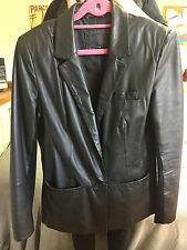 Ladies Black Leather Blazer Style Coat / Jacket - Size 12 - River Island