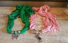 Set of 2 Scarf Butterfly & Owl Charm Jewelry Necklace Choker Rings Loop Scarf