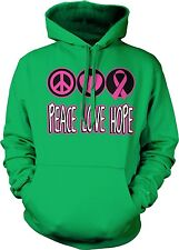 Peace Love Hope Heart Pink Ribbon Breast Cancer Awarenesss Month Hoodie Pullover
