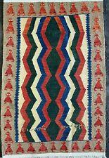 More details for beautiful turkish rug, handmade caucasian flatweave carpet (5ft x 3ft) kilim