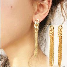 Retro Women Long Chain Drop Earrings Fancy Dress Golden Tassel Chains Earring