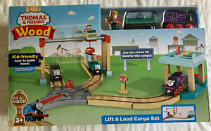 NEW Fisher Price Thomas & Friends Wood Lift & Load Cargo Train Track Set