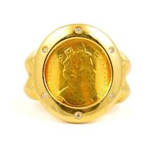 1994 Isle of Man 1/10 Crown Gold Cat Coin in 18k .04ct Diamond Ring Bezel Sz 6.5