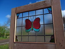 Original 1930s Stripped PITCH PINE DOOR Newly crafted UNIQUE STAINED GLASS PANEL