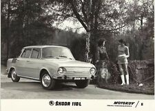 Skoda 100 L 1969 Original Press Photograph Girl in Knitted Mini Dress & Boots