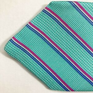 100% new KITON sevenfold tie aqua blue fuchsia stripes AUTHENTIC 170891