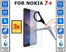 3x Authentique 100% Ultra HD Verre Trempé Protecteur d'écran Couvre Pour Nokia 7 PLUS