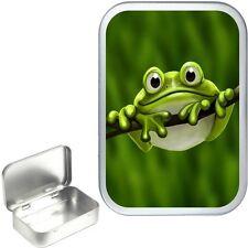 Cute Green Frog Silver 50ml Hinged Tin,Sweet Box,Storage Tin,Small Pocket Tin,