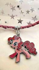 PINKY PIE MY LITTLE PONY PINK LEATHERETT NECKLACE 18 inch 4 TO 6 YEAR GIFT BOXED