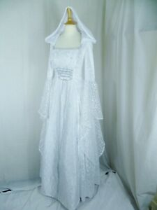 White and Silver Medieval Wedding Dress Renaissance Gown Custom made to size