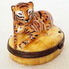 Vintage Manufacture Royale de Limoges Female Tiger/Tigress with Cub Trinket Box