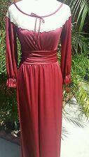 Vintage Burgundy Wine Long Sleeve Nightgown Dress SZ 10 Wedding Claasic Lace