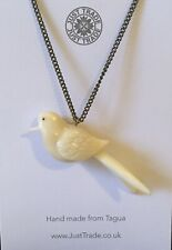 JUST TRADE Handcarved Tagua Nut Bird Pendant Long Chain 90cm Costume Jewellery