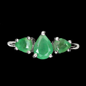 Unheated Pear Emerald 7x5mm 14K White Gold Plate 925 Sterling Silver Ring 8.5